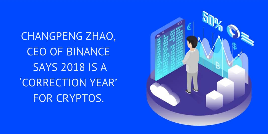CHANGPENG ZHAO, CEO OF BINANCE SAYS 2018 IS A 'CORRECTION YEAR' FOR CRYPTOS.