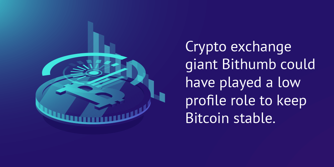 Crypto exchange giant Bithumb could have played a low profile role to keep Bitcoin stable