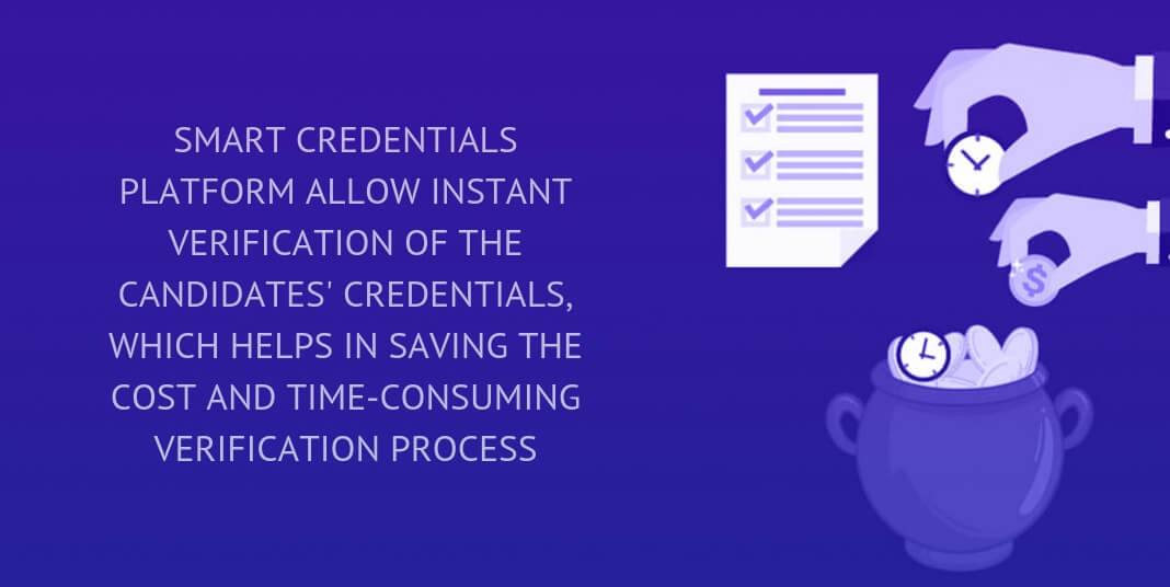 SMART CREDENTIALS PLATFORM ALLOWS INSTANT VERIFICATION OF THE CANDIDATES' CREDENTIALS, WHICH HELPS IN SAVING THE COST AND TIME-CONSUMING VERIFICATION PROCESS