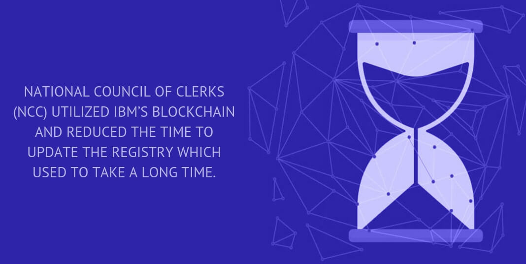 NATIONAL COUNCIL OF CLERKS (NCC) UTILIZED IBM'S BLOCKCHAIN AND REDUCED THE TIME TO UPDATE THE REGISTRY WHICH USED TO TAKE A LONG TIME.