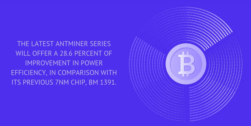 THE LATEST ANTMINER SERIES WILL OFFER A 28.6 PERCENT OF IMPROVEMENT IN POWER EFFICIENCY, IN COMPARISON WITH ITS PREVIOUS 7NM CHIP, BM 1391.