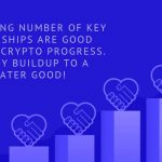 The growing number of key partnerships are good signs for crypto progress. A steady buildup to a greater good!