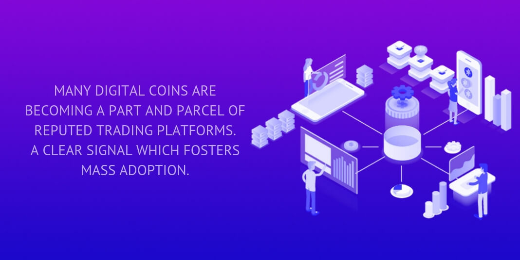 many digital coins are becoming a part and parcel of reputed trading platforms.