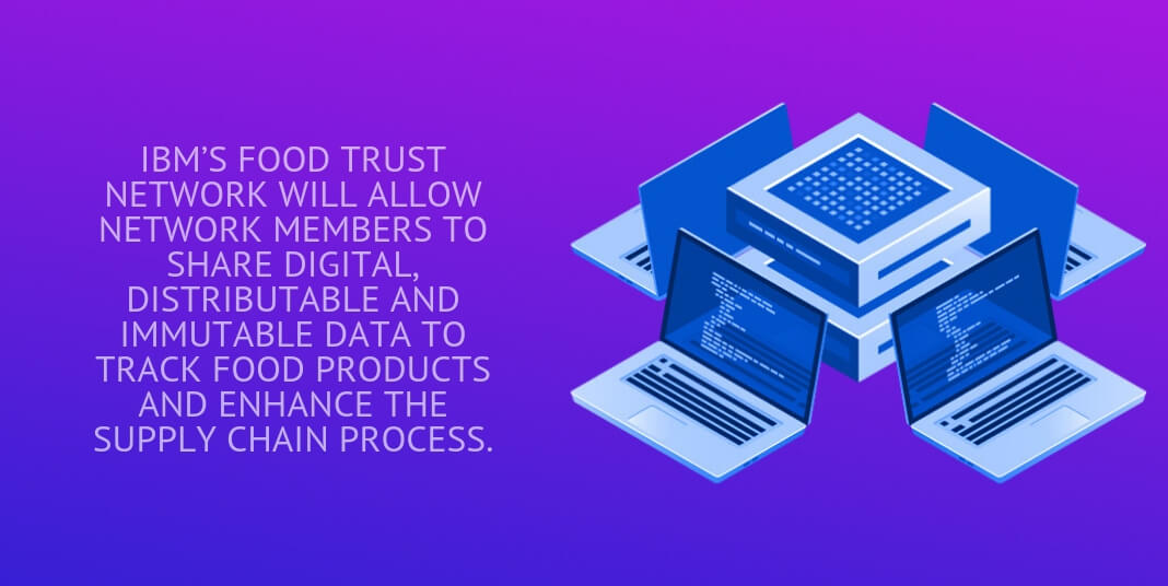 ibm's food trust network will allow network members to share digital, distributable and immutable data to track food products and enhance the supply chain process.