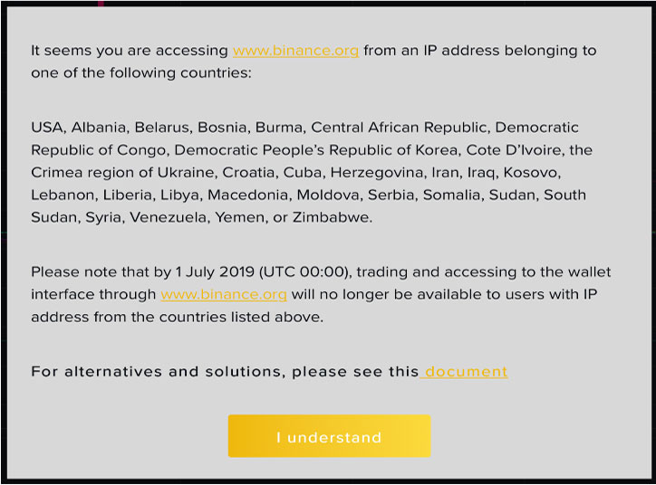 Binance-DEX-Website-Will-block-Users-From-29-Countries