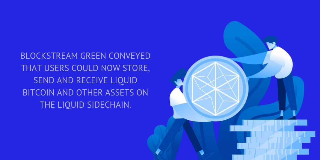 Blockstream Green conveyed that users could now store, send and receive Liquid Bitcoin and other assets on the Liquid sidechain.