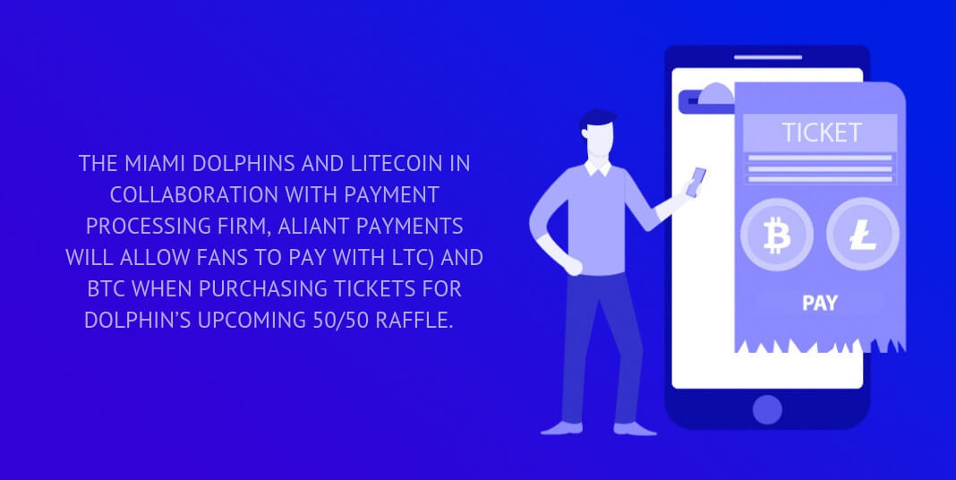 The Miami Dolphins and Litecoin in collaboration with payment processing firm, Aliant payments will allow fans to pay with LTC) and BTC when purchasing tickets for Dolphin's upcoming 50/50 raffle.